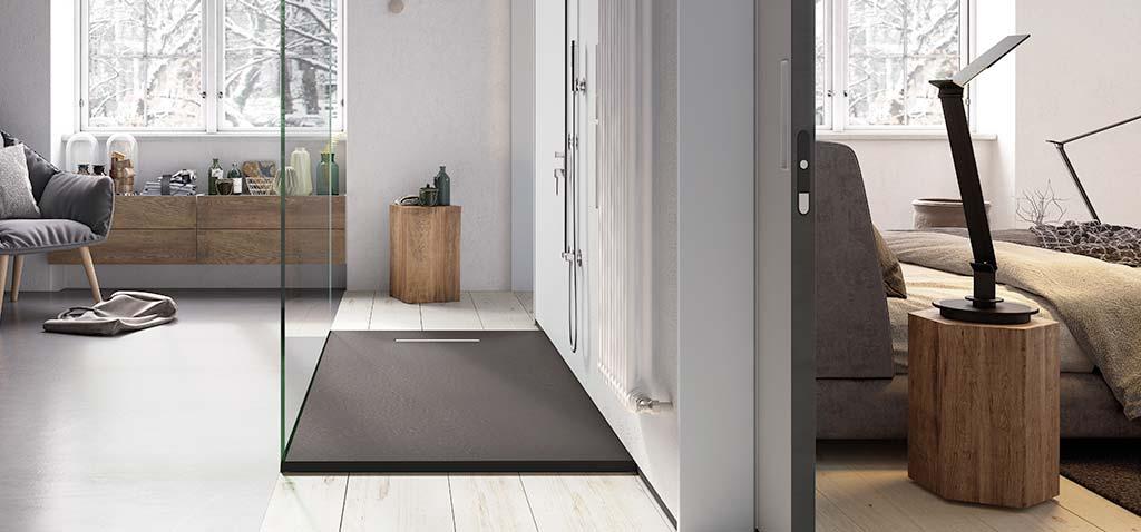 Ambiente plato de ducha flexible antracita Linear Drain