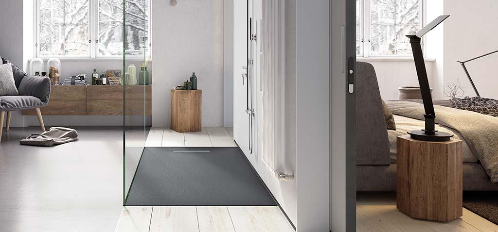 Ambiente plato de ducha flexible negro Linear Drain
