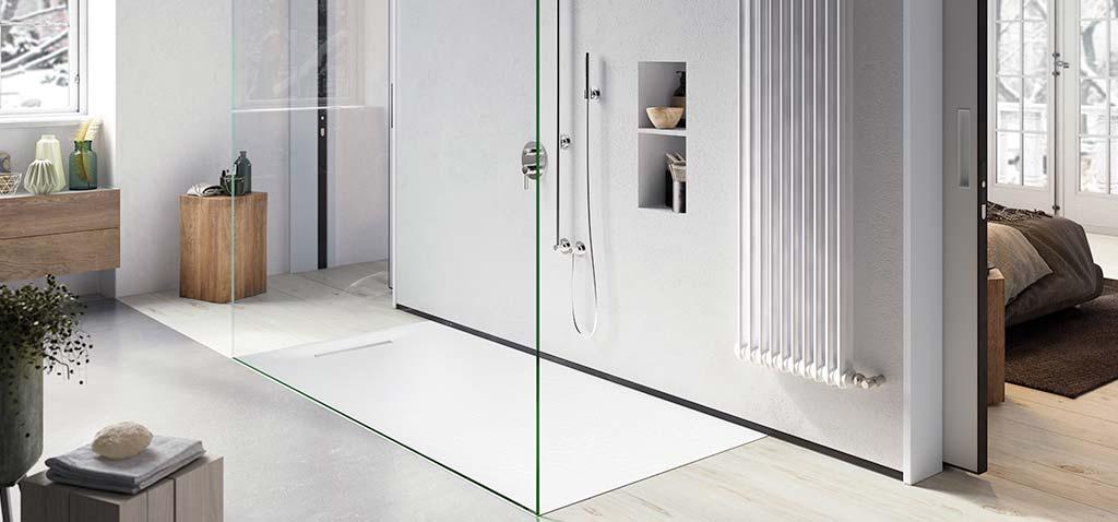 Ambiente plato de ducha flexible blanco Linear Drain