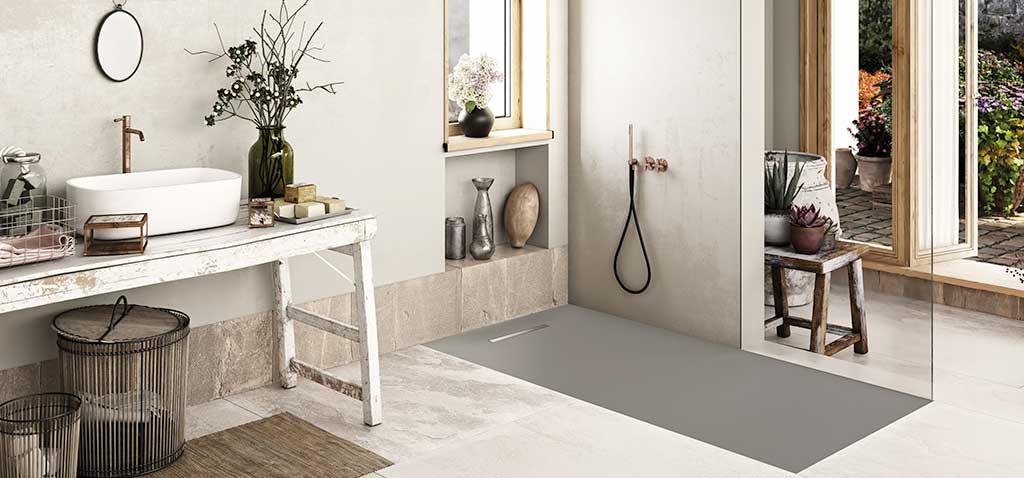 Ambiente plato de ducha flexible color hormigón Linear Drain