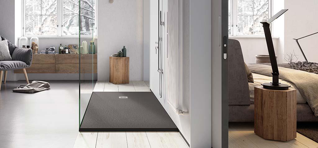 Ambiente plato de ducha flexible antracita Square Drain