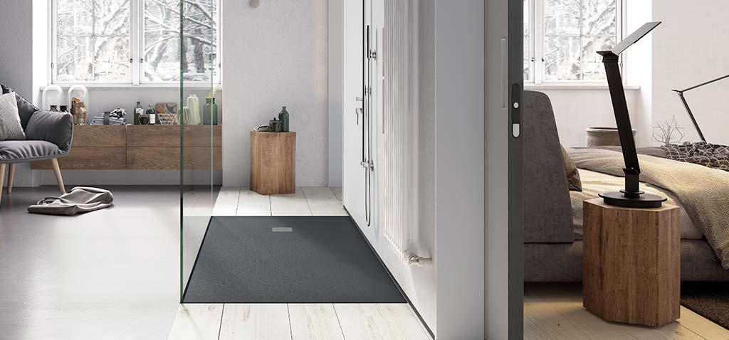 Ambiente plato de ducha flexible negro Square Drain