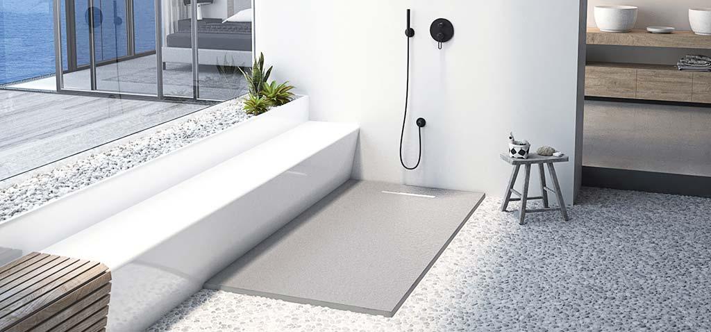 Plato de ducha Linear Drain hormigón con rejilla blanca