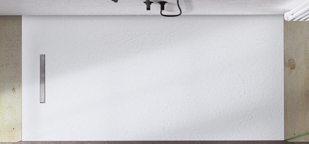 Plato de ducha Linear Drain blanco con rejilla inox