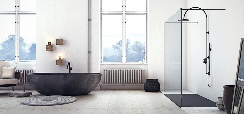 Plato de ducha Linear Drain negro con rejilla negra