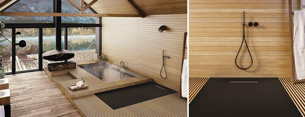 Plato de ducha soft negro en ambiente madera