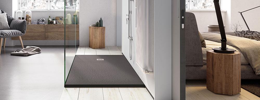 Ambiente nórdico con plato de ducha flexible sobre suelo