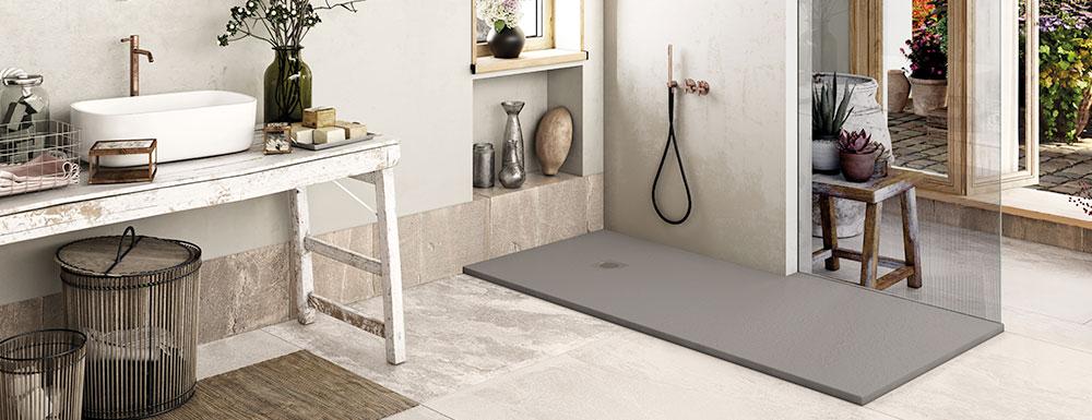 Plato de ducha SolidSoft square drain color hormigón en ambiente provenzarl