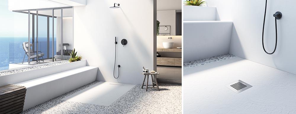 Inspiración plato de ducha flexible linear drain blanco
